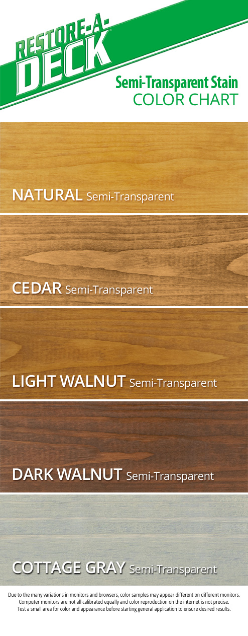 Restore A Deck Semi-Transparent Stain Color Chart