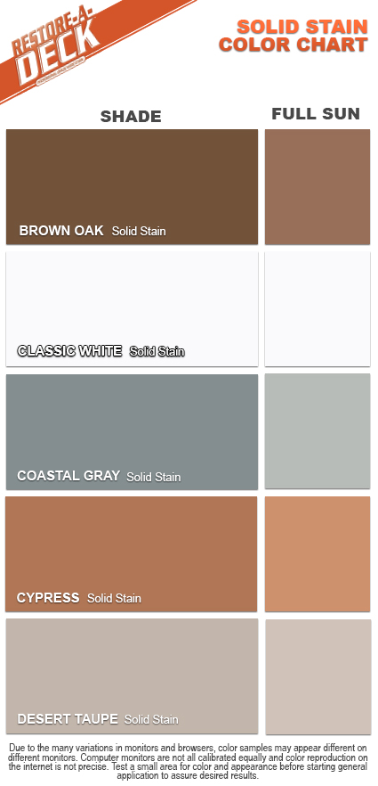 Restore A Deck Solid Stain Color Chart